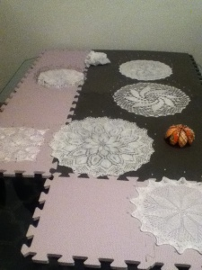 Six various doilies