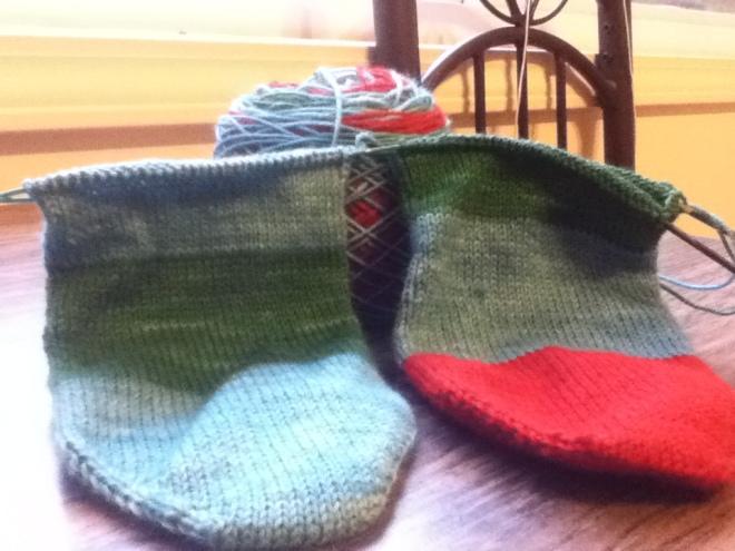 Hand knit socks in progress.