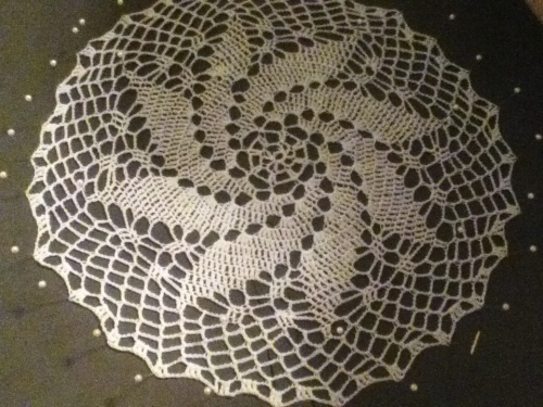 Pinwheel crocheted doily
