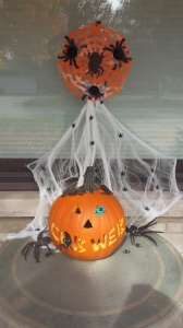 halloween pumpkin carving cobweb spider